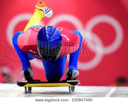 Pyeongchang, South Korea - February 14, 2018: Vladyslav Heraskevych Of Ukraine Competes  In The Skel