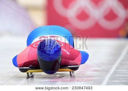 Pyeongchang, South Korea - February 14, 2018: Vladyslav Heraskevych Of Ukraine Competes In The Skele