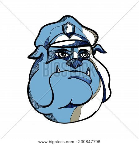 Drawing Sketch Style Illustration Of Head Of A Bulldog Policeman Or Police Officer Wearing A Peaked