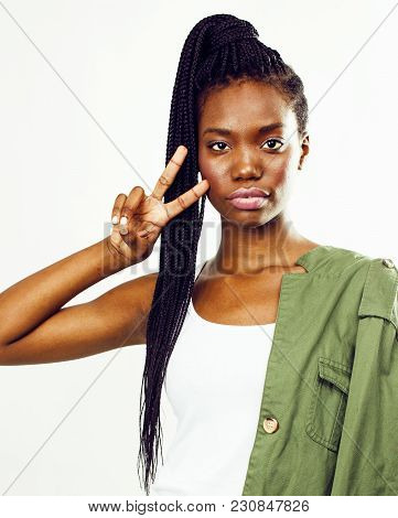 Young Pretty African-american Girl Posing Cheerful Emotional On White Background Isolated, Lifestyle