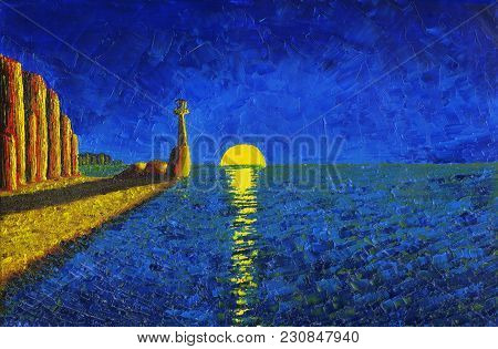 Lighthouse On The Sea Shore. Ascending Moon On The Horizon. Oil Painting On Canvas.