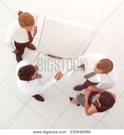 view from the top. background image of handshake of business par