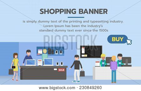 Shopping Banner With Buy Button For Shopping Online. People Shopping In Supermarket And Buying Gadge
