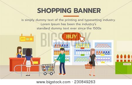 Shopping Banner With Buy Button For Shopping Online. People Shopping In Supermarket And Buying Produ