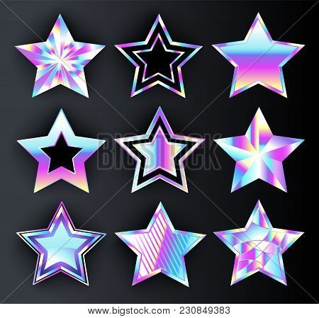 Set Of Holographic, Bright, Isolated, Iridescent Stars On Black Background. Holographic Stars