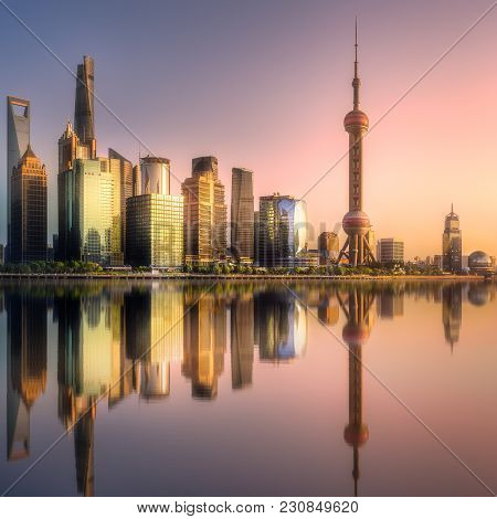 Scenery View Of Shanghai Skyline And Huangpu River With Reflection Of Sun On Buildings And Water Dur