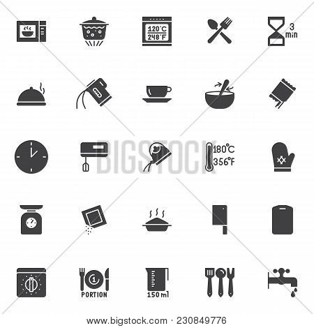 Cooking Instructions And Kitchenware Vector Icons Set, Modern Solid Symbol Collection, Filled Style