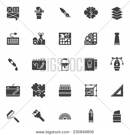 Drawing Elements Vector Icons Set, Modern Solid Symbol Collection, Filled Style Pictogram Pack. Sign