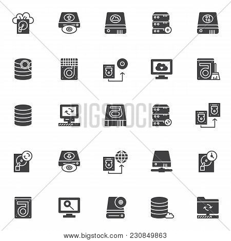 Data Recovery Elements Vector Icons Set, Modern Solid Symbol Collection, Filled Style Pictogram Pack