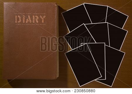 Old Leather-bound Diary With Photos. Photos Prepared For Design