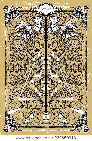 Vector Fantasy Zodiac Sign Gemini Or Twins In Gothic Frame On Texture. Hand Drawn Engraved Illustrat