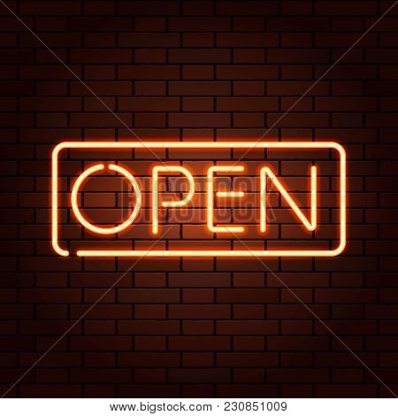 Red Vector Neon Lights Signs Open. Illustration Transparent On Realistic Brick Wall.