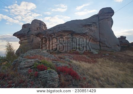 Autumn On The Ku Mountain Range. A Mountain Range Is A Series Of Mountains Or Hills Ranged In A Line