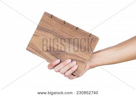 Hand Holding Hand Made Book Isolated On White Background. Clipping Path.  Hand Made Book Is Beautifu