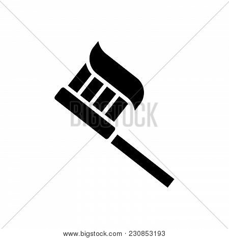 Tooth Brush Vector Icon On White Background. Tooth Brush Modern Icon For Graphic And Web Design. Too