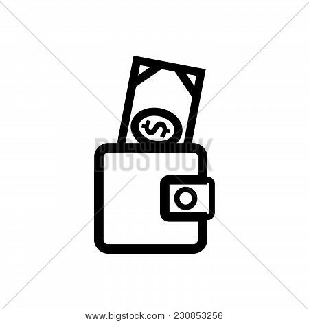 Wallet With Money Vector Icon On White Background. Wallet With Money Modern Icon For Graphic And Web