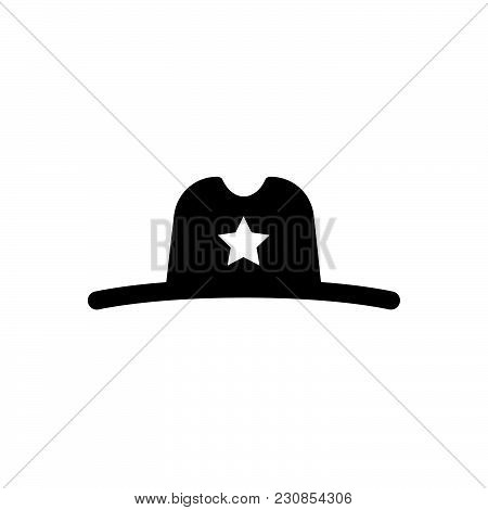 Sheriff Hat Vector Icon On White Background. Sheriff Hat Modern Icon For Graphic And Web Design. She