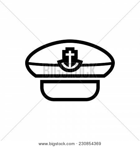 Captain Hat Vector Icon On White Background. Captain Hat Modern Icon For Graphic And Web Design. Cap