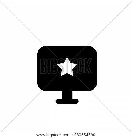 Computer With Star Vector Icon On White Background. Computer With Star Modern Icon For Graphic And W