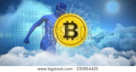 Symbol of bit coin digital crypto currency against composite image of blue character running