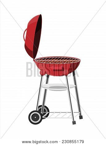 Round Barbecue Grill. Bbq Icon. Electric Grill. Device For Frying Food. Vector Illustration In Flat