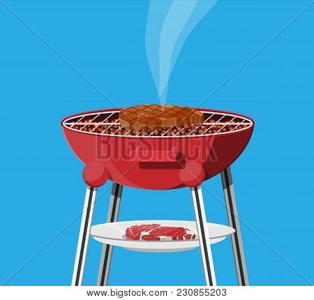 Round Barbecue Grill. Bbq Icon. Electric Grill. Device For Frying Food. Fresh Meat And Steak. Vector