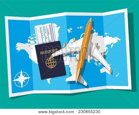 Airplane Top View. Passenger Or Commercial Jet, Boarding Pass And Passport. Paper World Map. Cartogr