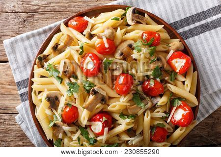 Vegetarian Food: Pasta Penne With Champignons, Tomatoes, Stuffed Peppers Close-up. Horizontal Top Vi