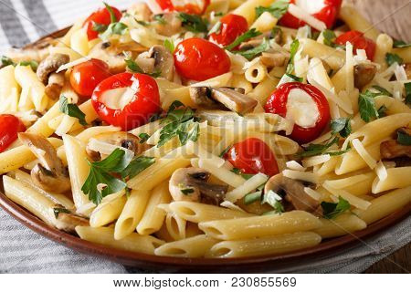 Delicious Penne Pasta With Champignons, Tomatoes, Stuffed Pepper And Parmesan Macro. Horizontal