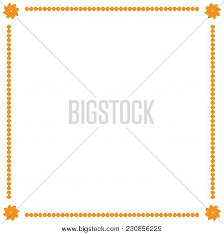 Frame Yellow. Border From Ovals And Flowers. Decoration Banner Rim. Color Framework Isolated On Whit