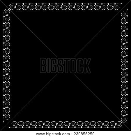 Frame White. Decoration Concept. Border From Waves. Monochrome Framework Isolated On Black Backgroun