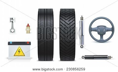 Icons Of Car Parts For Garage, Auto Car Services. Various Car Parts And Accessories Isolated On Whit