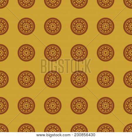 Car Wheel Vector Illustration On A Seamless Pattern Background. Set Of Elements