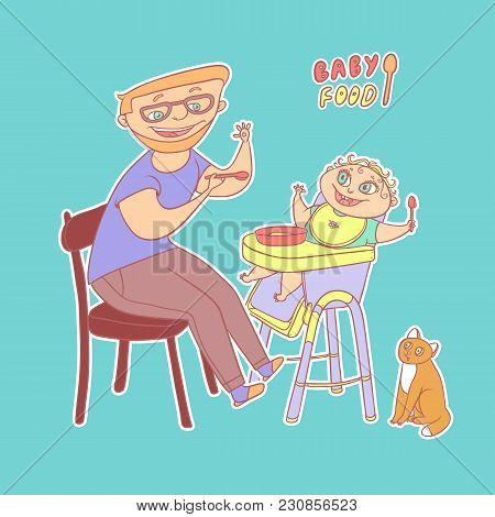 Sticker Father With Glasses And Beard Feeds Baby Food To Small Child With Spoon, And Cat Watching. O