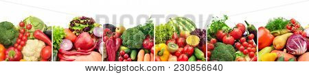 Collage of fruits and vegetables divided by vertical lines on white background.
