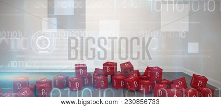Several red cube with bit coin sign on each side against blue technology design with binary code