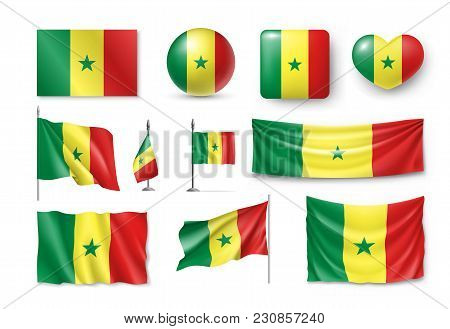 Set Senegal Flags, Banners, Symbols, Flat Icon. Vector Illustration Of Collection Of African Nationa