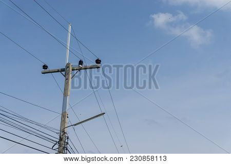 Electricity Post With Cloud Blue Sky., Copy Space For Text