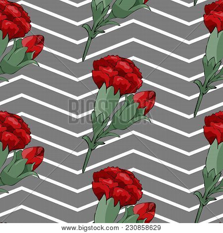 Vector Image. Seamless Pattern With Red Carnation Flowers On Dark Background With White Stripes. Vec