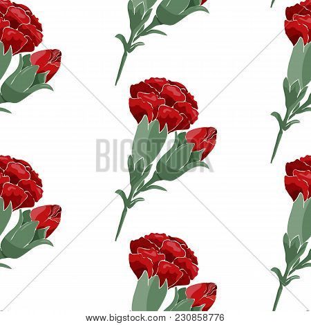 Hand Drawen Seamless Pattern Of Red Carnations And Butterflies. Stock Vector.