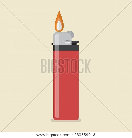 Lighter Vector Icon. Flat Style Vector Illustration