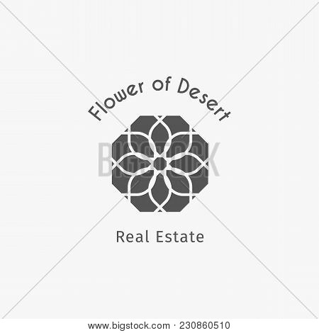 Asian Real Estate Logo Template. Vector Ethnic Ornamental Design For Agency, House And Apartment Ren