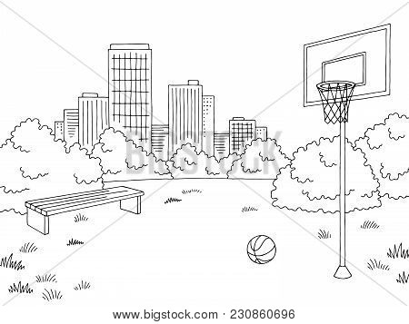 Street Sport Basketball Graphic Black White City Landscape Sketch Illustration Vector