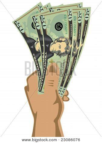 Hand holding dollar bills vector