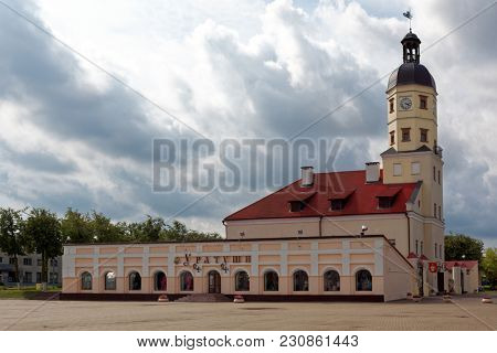 NESVIZH, BELARUS - AUGUST 27, 2012: View to Town Hall of Nesvizh from Town Hall square. The building was erected in 1596, several times reconstructed, and finally restored in 1997-2004