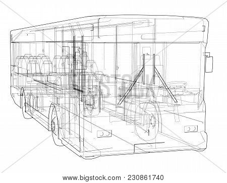 Concept City Bus. Vector Rendering Of 3d. Wire-frame Style. The Layers Of Visible And Invisible Line