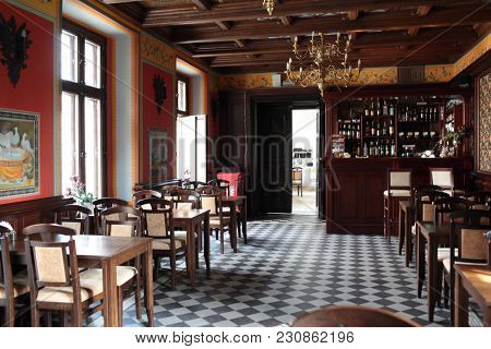 NESVIZH, BELARUS - AUGUST 27, 2012: Interior of a bar for tourists in Nesvizh castle. After reconstruction, since 2006 the castle is listed as UNESCO World Heritage Site