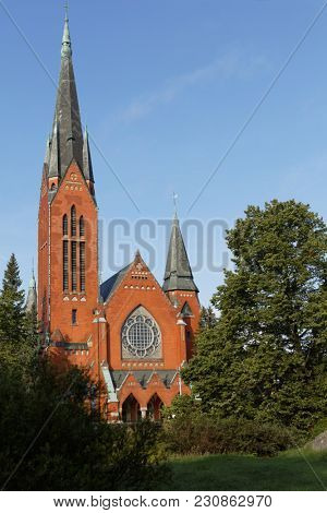 TURKU, FINLAND - AUGUST 21, 2017: View to St. Michael's church in a summer day. Built in 1905, it is one of the most popular wedding churches in Turku being able to seat 1,800 people