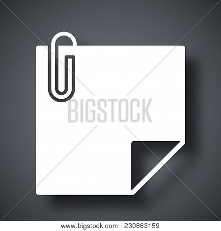 Vector Note Paper With Paper Clip Icon On Dark Gray Background With Shadow