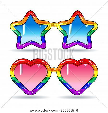 Vector Illustration, Colorful Icons, Set A Set Of Glossy Retro Style Disco Sunglasses In The Shape O